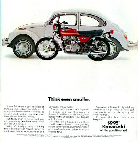 Inserat VW gegen Kawasaski von 1975