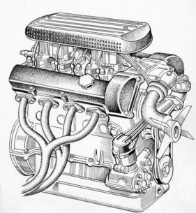 Bild / Foto: Fiat 1500 Spider (1959) - Skizze des OSCA-Motors (1959 ...