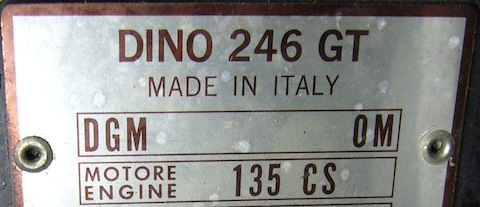 Chassis Plate Ferrari Dino 246 GT