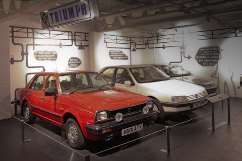 Triumph Acclaim und Peugeot 405 SRI im Coventry Transport Museum 2017